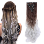 Clip in Hair Extensions Ombre Dip Dye Colour Synthetic Full Head Hairpiece 2 Tone Japanese Kanekalon Fibre Thick Long Curly Wavy 8pcs 18clips for Women 60cm / 60cm
