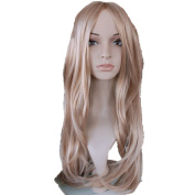 Mzcurse 70cm Blonde Long Cosplay Straight Party Hair Wig Highlights Layers
