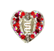 Crystal Heart Hair Clip (Med Size) - Red
