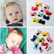 CellElection 20pcs Solid Dot Pringting Infant Baby Mini Small Bow Hair Clips Kids Hair Accessories