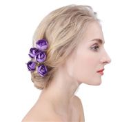 Drasawee Roses Wedding Bridal Hair Clips Pins Party Hair Accessories Headpiece Purple