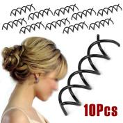 AStorePlus 10 Pcs Black Spiral Hair Pin Clip Bun Stick Pick For DIY Hair Style Sleek and Compact Alloy Construction