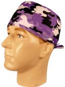 USA Made Kicken Purple Black White Camo Camoflauge Medical Scrub Cap Sweatband Adjustable Ties Doctor Nurse