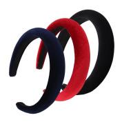 QtGirl 3 Pcs Girls Alice Headbands 2.5cm Width 1.5cm Thick Black Red Navy Hair Bands