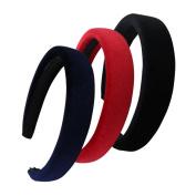QtGirl 3 Pcs Girls Alice Headbands 2.5cm Width 1cm Thick Black Red Navy Hair Bands