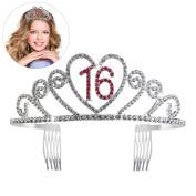 PIXNOR Sweet 16 Birthday Crown Rhinestone Crystal Tiara Hair Combs Watermelon Red