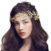 Drasawee Golden Sleeves Pearls Bridal Headband Wedding Hair Accesories Headpiece