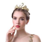 Drasawee Vintage Baroque Golden Swan Wedding Bridal Hair Accessories Hair Bands