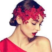 Drasawee Vintage Lace Pearls Wedding Bridal Headbands Bridal Hair Clips Accessory