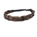 Ty.Hermenlisa Chunky Synthetic Hair Braided Headband Classic Wide Braids Elastic Stretch Hairpiece Women Beauty accessory, 55g Copper Brown