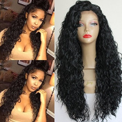 PlatinumHair #1b loose curl wigs synthetic lace front wigs heat resistant synthetic wigs 60cm - 70cm