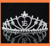 Janfashions Sweet Sixteen 16 Clear Austrian Rhinestone Tiara Crown with Hair Combs Party Fashion Jewellery T538 Silver