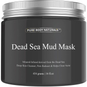 Pure Body Naturals Beauty Dead Sea Mud Mask for Facial Treatment - Large Size (Better Value) 470ml