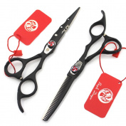 Purple Dragon 15cm Barber Professional Black Paint Hairdressing Scissors Salon Haircut Thinning Shears Set