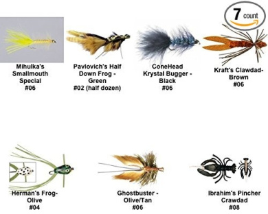 Smallmouth Bass Fly Fishing Flies Kit - MFC and Rainy's Flies - Collection of 7 Flies
