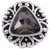 "Chunk Snap Charm Mini Petite 12mm Smoky Quartz Triangle Stone Centre 1/2"" Diameter"