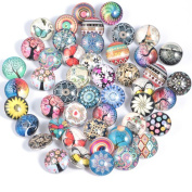 30PCs Mixed Style Glass Noosa Snaps Buttons 18mm for Interchangeable Ginger Snaps Jewellery