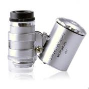 Skycoolwin 60X mini illuminated Jeweller LED UV Lens Loupe Magnifier Microscope