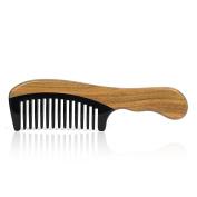 Green Sandalwood Handmade Wide Tooth Wooden Ox Horn Combs