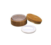 1Pcs 30ml Empty Environmental Bamboo Comestic Make-up Loose Powder Box Case Container Holder with Screw Lid Powder Puff and Sifter