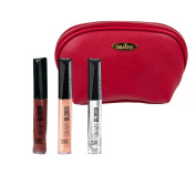 Rimmel 'Oh My Gloss' Lipgloss Kit in Three Shades (5ml Each), Crystal Clear, All Night Long and Non Stop Glamour with a Deep Red Cosmetic Bag by Draizee