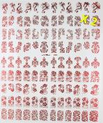 Warm Girl 2 Sheet Red 3D Nail Art Stickers 108pcs/sheet Mixed Designs Nail Decoration