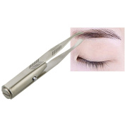 DZT1968 1pc Eyelash Eyebrow Hair Removal Tweezer Remover Creative Makeup Tool With LED Light Silver
