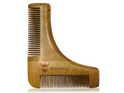 Wood Beard Stencil by Striking Viking - Wooden Anti-Static Shaping Comb with Fine and Coarse Bristles for a Perfect Shape & Brush