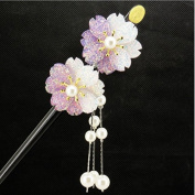 FINGER LOVE Glittered Gradient Flowers Acrylic Hair Stick with Pearl Tassels