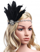 Babeyond Women's Stunning Party Prom Vintage 1920s Gatsby Headpiece Black Feather Headdress Flapper Headband Black