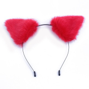 springcos Lolita Fox Ears Fur Cat Ears Headband Cosplay Party Hair Accessories Red