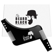 Beard shaping & styling tool with inbuilt comb for perfect line up & edging, use with a beard trimmer or razor to style your beard & facial hair, Premium quality product by The Beard Black