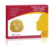 4 in 1 Premium 24K Gold Pure Bio Natural Collagen Beauty Face Mask (Pack of 3 Boxes x 5 ea/Box = 15 Total Masks) for Anti Ageing with 10X Absorption Technology for Professional Skin Care
