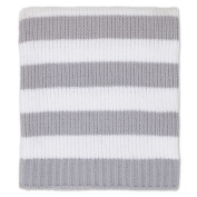 Nautica Kids Mix & Match Chenille Striped Blanket in Grey