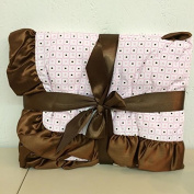 SATIN TRIM BLANKET PINK & BROWN SQUARE