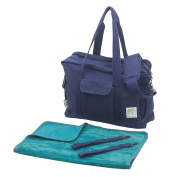 Organic Canvas Nappy Bag with Stroller Straps & Change Pad