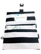 Rilos + MiMi Nappy Clutch with wipes window pocket, side loop for wrist strap, Hook and loop closer, and machine washable