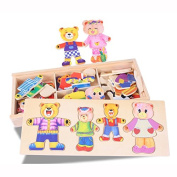 Baby Bear Change Clothes Puzzle Building Block Early Childhood Wooden Jigsaw