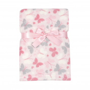 Baby Gear Plush Velboa Ultra Soft Baby Girls Blanket 30 x 40, Pink Butterfly