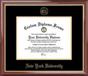 New York University Violets - Embossed Seal - Mahogany Gold Trim - Diploma Frame