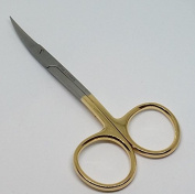 Scissors 11cm curved Gold Plated handle Dental Surgical Gum Scissors with tungsten carbide edges extra sharp and durable BY Wise Linkers