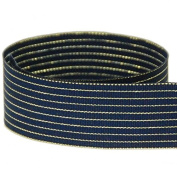 USA Made 2.5cm - 1.3cm Starry Night Shimmer Striped Grosgrain Ribbon (Navy & Gold Stripe Ribbon) - 50 Yards