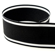 USA Made 2.5cm - 1.3cm Italian Side Street Striped Grosgrain Ribbon (Black and White Stripe Ribbon) - 50 Yards