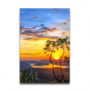 Sunset In A Lake With Mountains Design 50cm x 80cm Poster