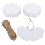 eBoot 100 Pack Crafts Paper Tags Kraft Gift Tags Cloud Shape Hang Labels with 30 Metres Natural Twine