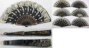 Set of 12 Spanish-Style-Black-Dance-Party-Wedding-Lace-Gold-Flower-Folding-Hand-fan