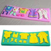 Fangfang Silicone 3D Baby Clothes Fondant Mould Cake Chocolate DIY Baking Tools