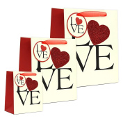 Romantic Valentines Day Matte & Glitter Love Heart Gift Bags, Beige, Black, & Red, Small, Medium, & Large, Pack of 3, 15cm - 32cm