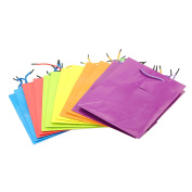 Deco4Fun 1 Dozen Assorted Colour Gift Bags - LARGE OR SMALL - Bright Neon Solid Coloured Glossy Present Paper Bags