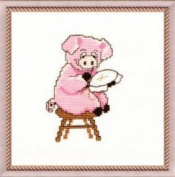 Embroidery Counted cross stitch kit Charivna mit #389 Pig Animal Smile 15x15 cm / 5.91x5.91 in